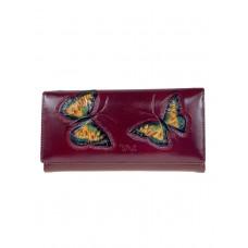 На фото 1 - Женское кожаное портмоне с декором в виде бабочек, цвет бордовый