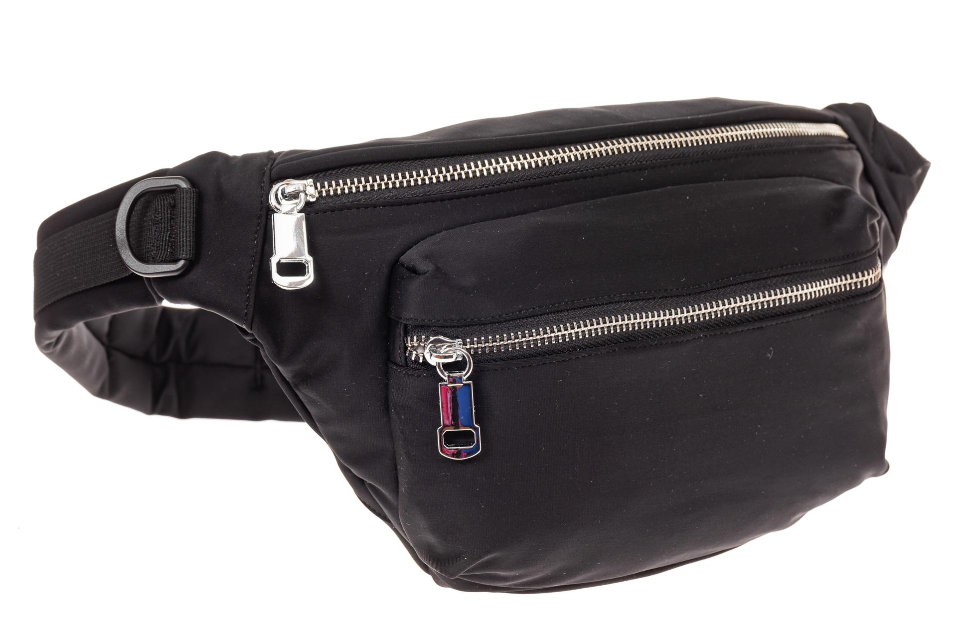 На фото 1 - Классическая поясная сумка из текстиля, цвет черный