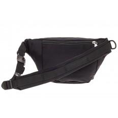 На фото 2 - Классическая поясная сумка из текстиля, цвет черный