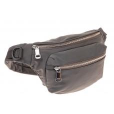 На фото 1 - Классическая поясная сумка из текстиля, цвет серый