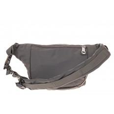 На фото 2 - Классическая поясная сумка из текстиля, цвет серый