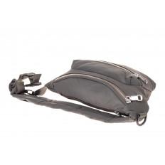 На фото 3 - Классическая поясная сумка из текстиля, цвет серый