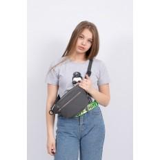 На фото 4 - Классическая поясная сумка из текстиля, цвет серый