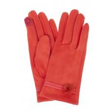 На фото 1 - Классические женские перчатки из велюра, цвет красный