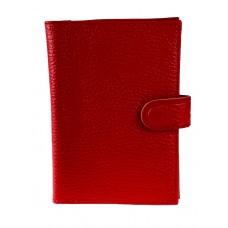 На фото 1 - Кожаная обложка для паспорта и автодокументов, цвет красный