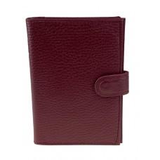 На фото 1 - Кожаная обложка для паспорта и автодокументов, цвет бордовый