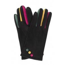 На фото 1 - Велюровые женские перчатки с разноцветными вставками, цвет чёрный