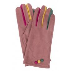 На фото 1 - Велюровые женские перчатки с разноцветными вставками, цвет тёмно-розовый