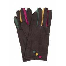 На фото 1 - Велюровые женские перчатки с разноцветными вставками, цвет шоколад