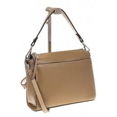 на фото Shoulder bag из натуральной кожи, цвет бежевый с коричневым 5001MK5