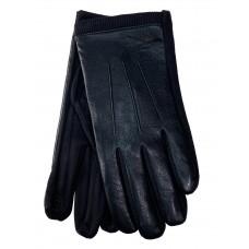 На фото 1 - Кожаные мужские  перчатки на флисе, цвет черный