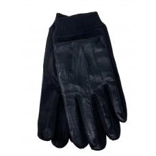 На фото 1 -  Кожаные мужские  перчатки на флисе, цвет чёрный