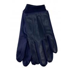 На фото 1 -  Кожаные мужские  перчатки на флисе, цвет синий