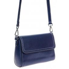 На фото 1 - Женская кросс-боди из фактурной натуральной кожи, синяя