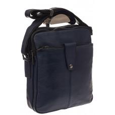 На фото 1 - Мужская сумка из натуральной кожи, цвет синий