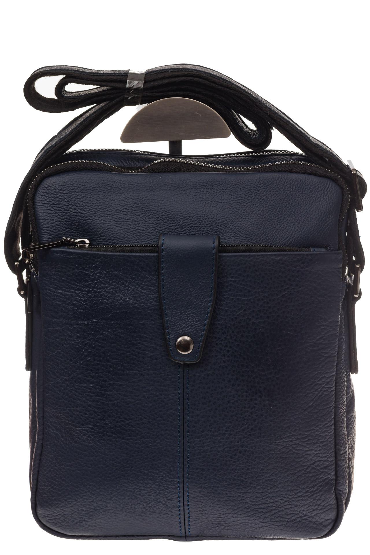 На фото 2 - Мужская сумка из натуральной кожи, цвет синий