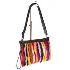 На фото 1 - Меховая сумка кросс-боди, яркий мультицвет