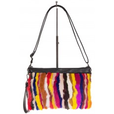 На фото 2 - Меховая сумка кросс-боди, яркий мультицвет