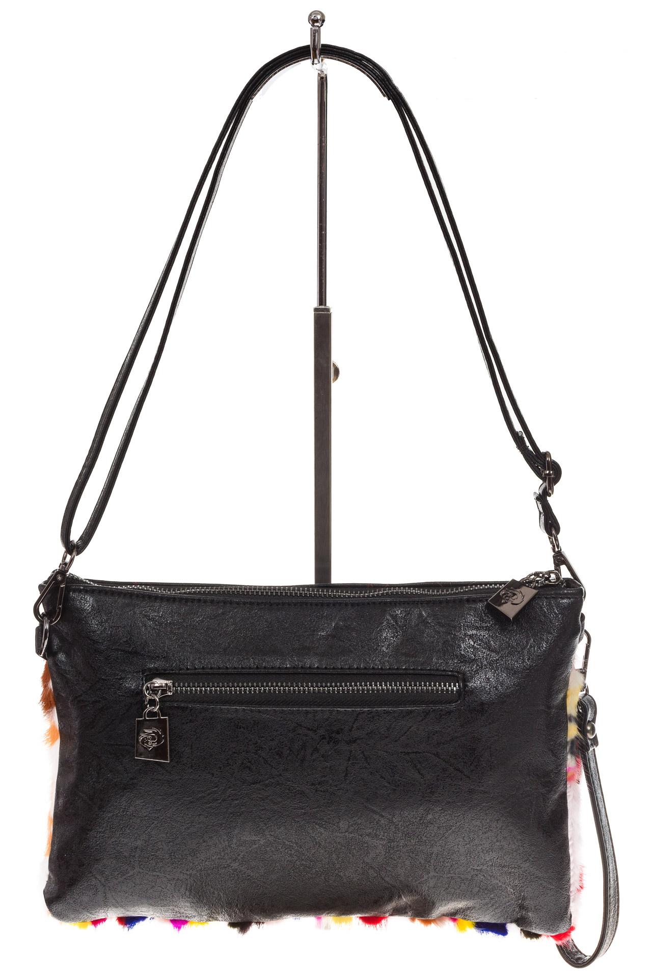 На фото 3 - Меховая сумка кросс-боди, яркий мультицвет