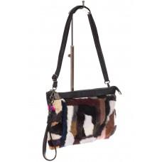 На фото 1 - Меховая сумка кросс-боди, коричневый мульти...