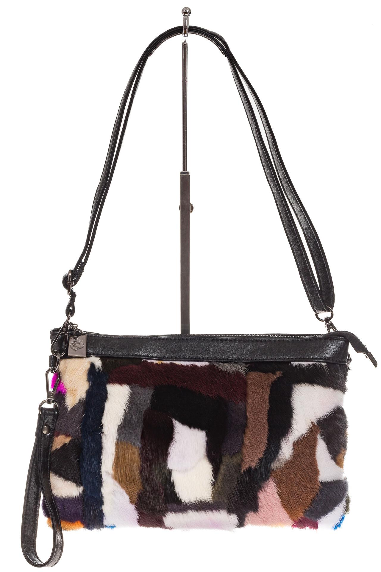 На фото 2 - Меховая сумка кросс-боди, коричневый мультицвет