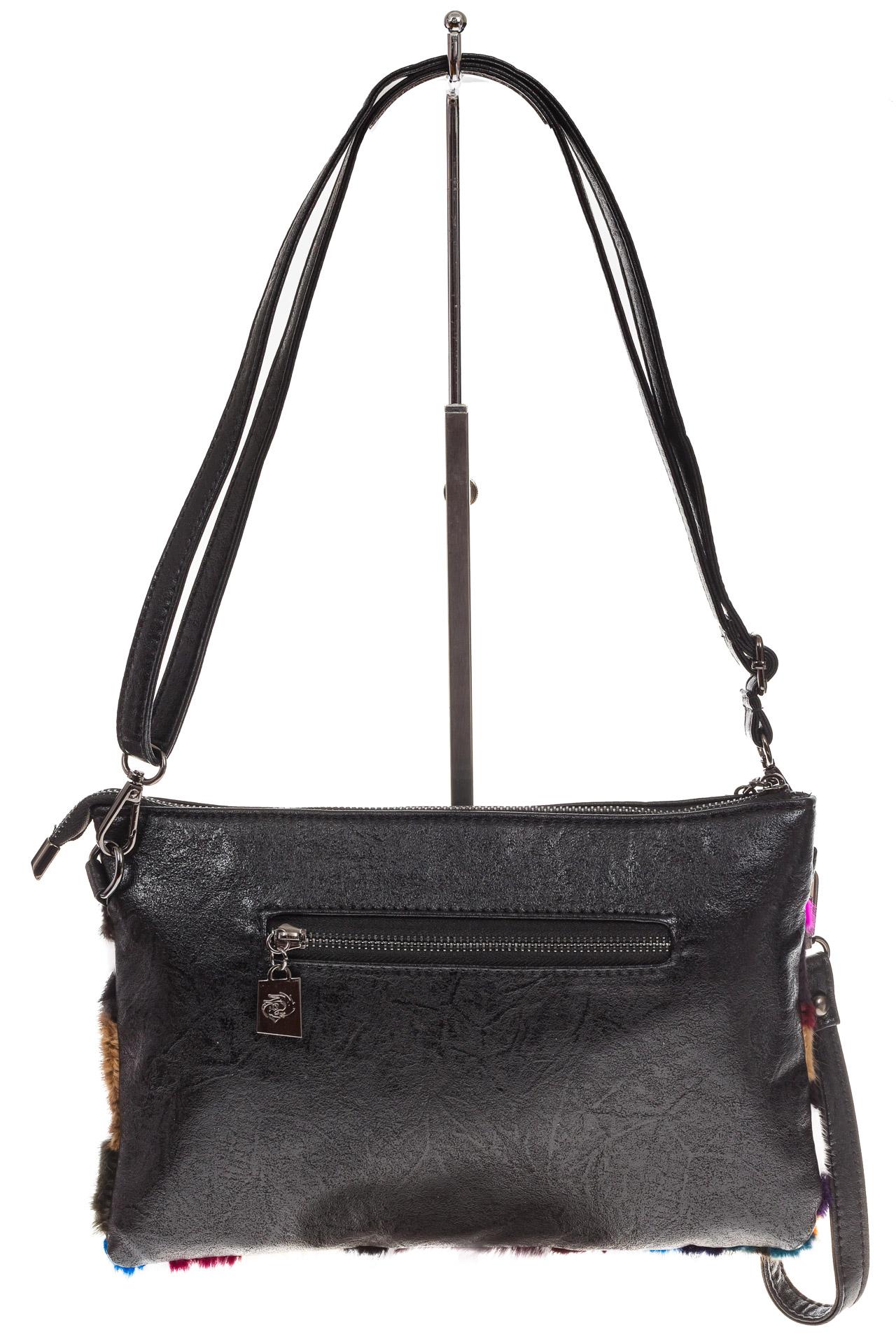 На фото 3 - Меховая сумка кросс-боди, коричневый мультицвет