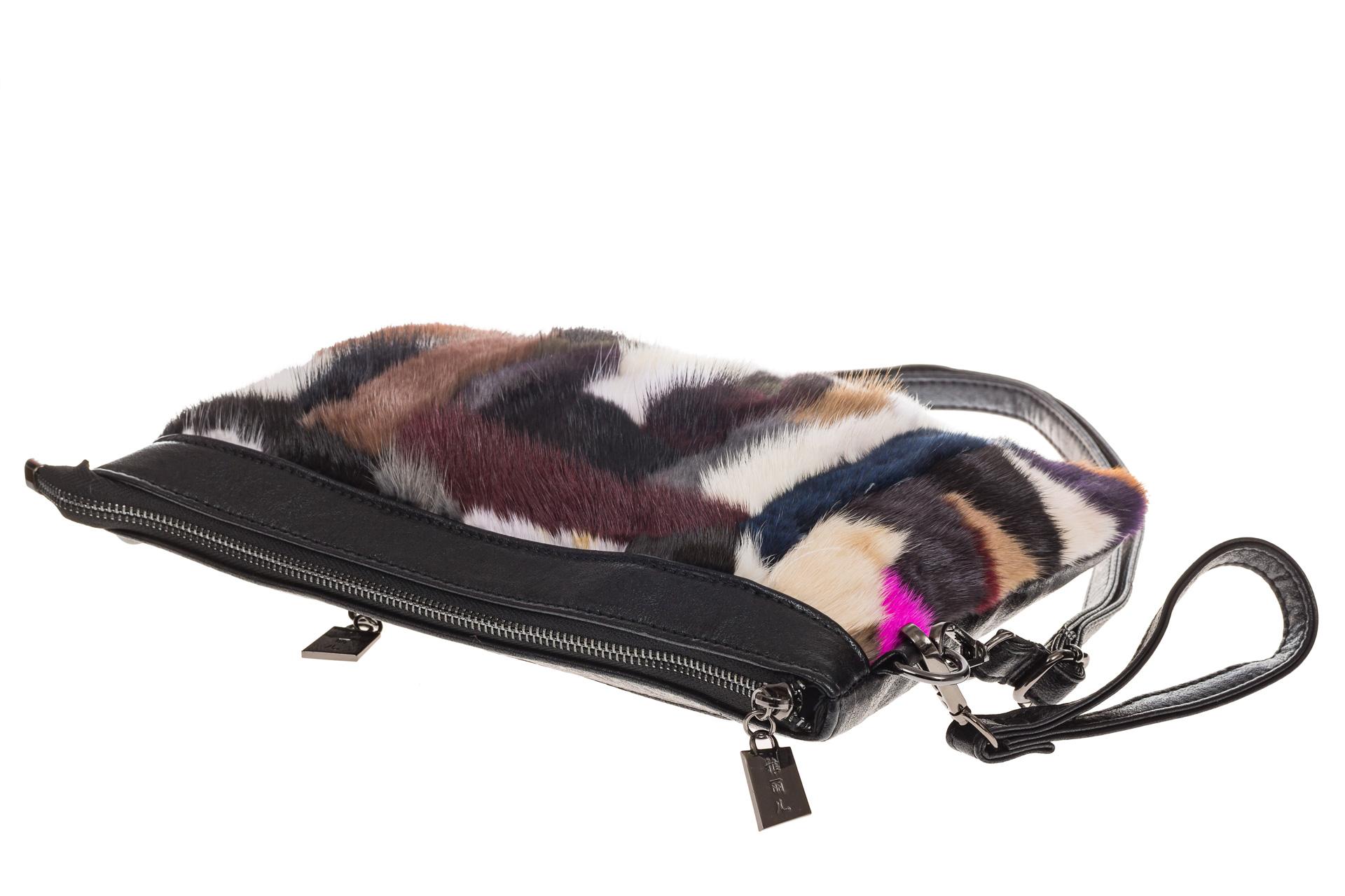 На фото 4 - Меховая сумка кросс-боди, коричневый мультицвет