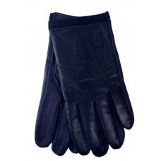На фото 1 - Кожаные мужские  перчатки на флисе, цвет серый