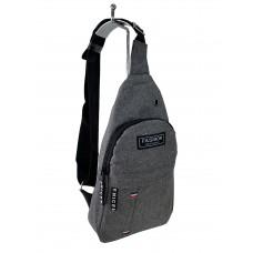 На фото 1 - Молодёжная сумка-слинг из текстиля, цвет серый