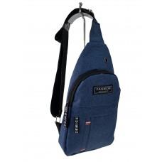 На фото 1 - Молодёжная сумка-слинг из текстиля, цвет тёмно-синий