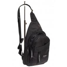 На фото 1 - Тканевая сумка-слинг, цвет чёрный