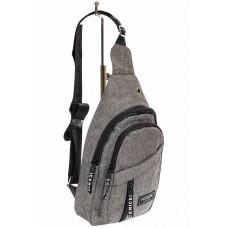 На фото 1 - Тканевая сумка-слинг, цвет серый