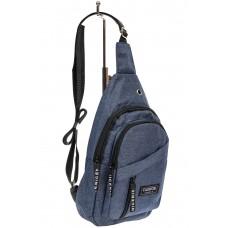 На фото 1 - Тканевая сумка-слинг, цвет синий