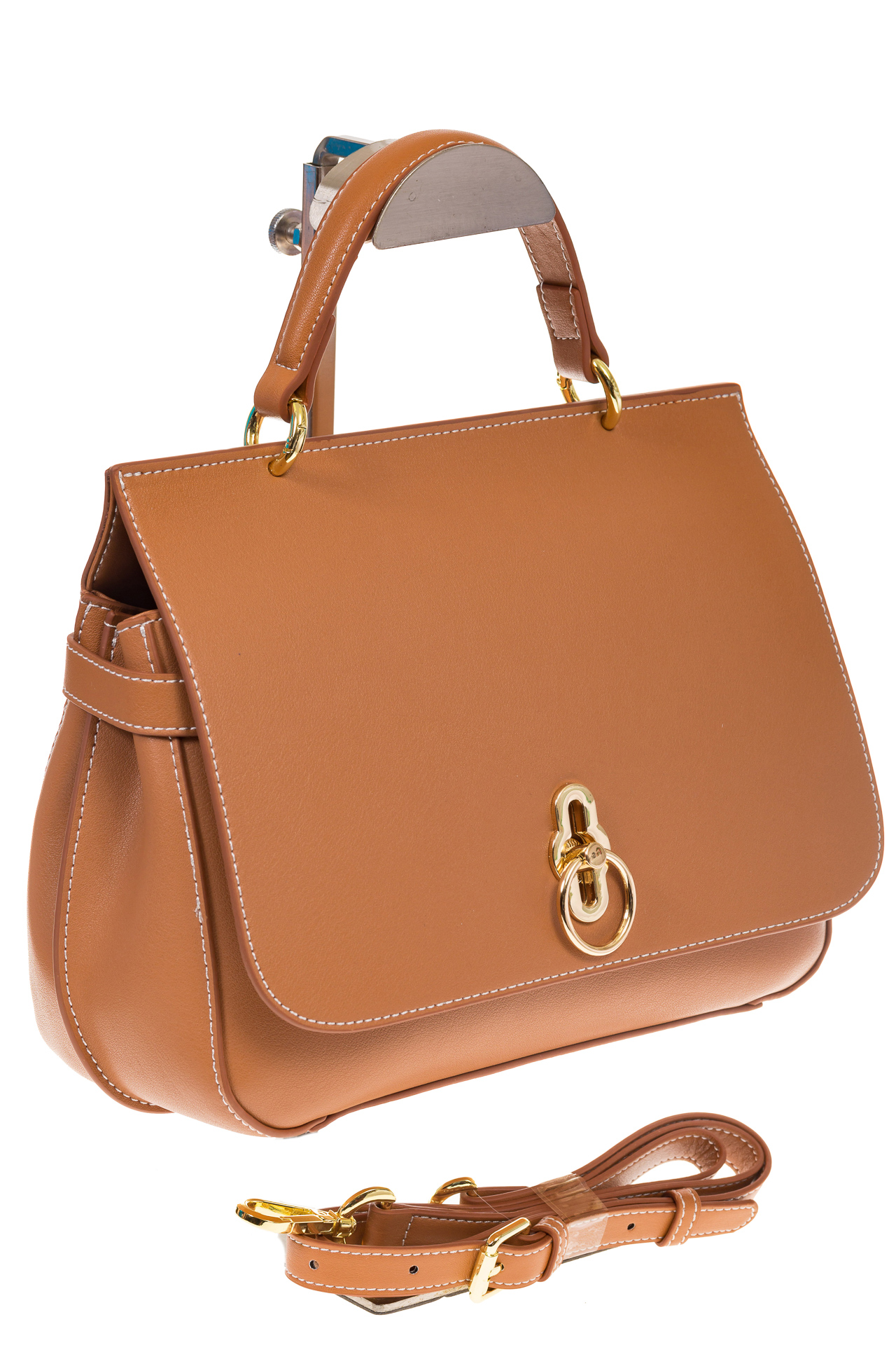 Бежевая сумка из кожи с верхним клапаном 5046-1 на фото