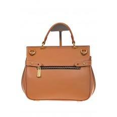 На фото 3 - Бежевая сумка из кожи с верхним клапаном 5046-1