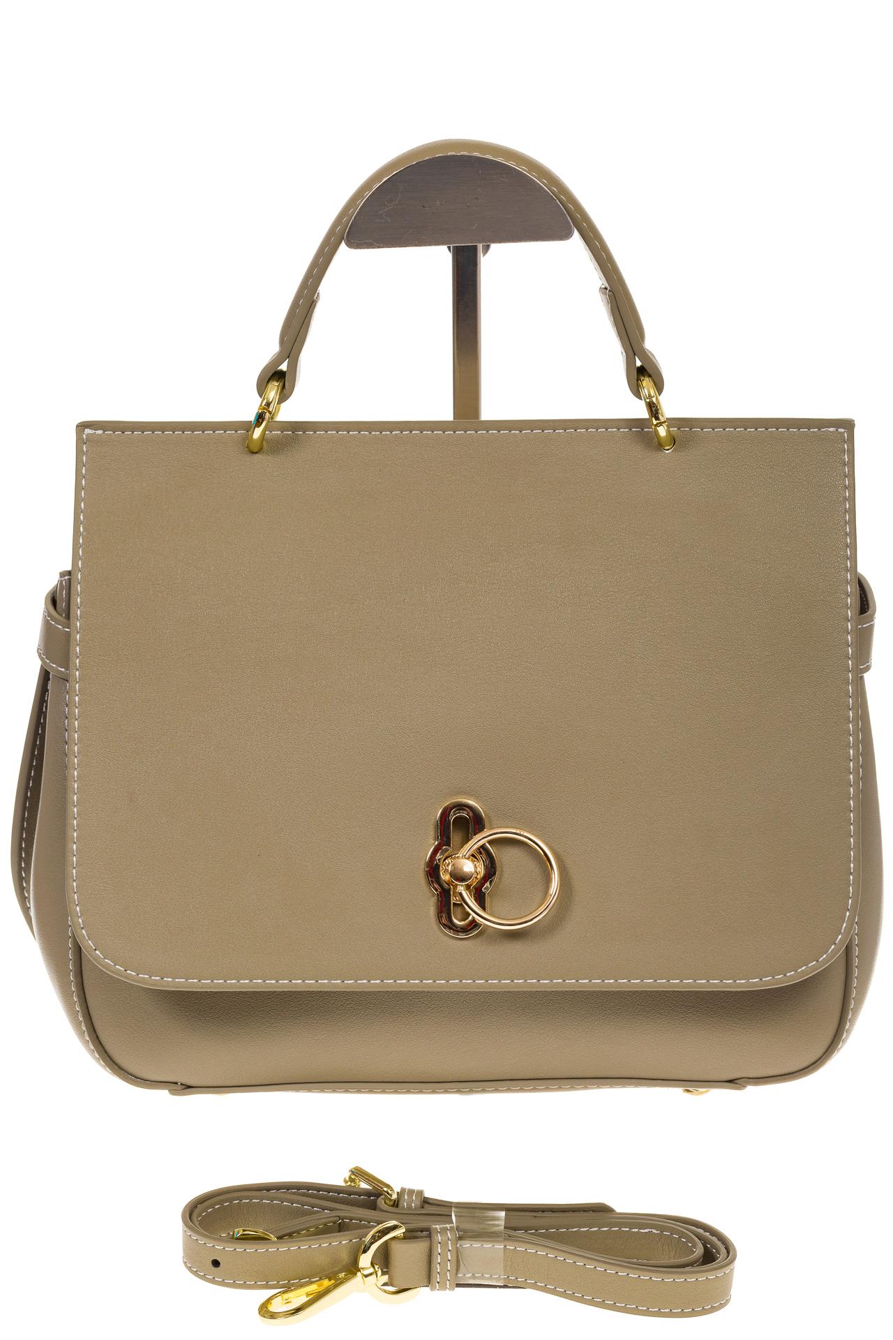 На фото 2 - Серо-зеленая сумка из кожи с верхним клапаном 5046-1