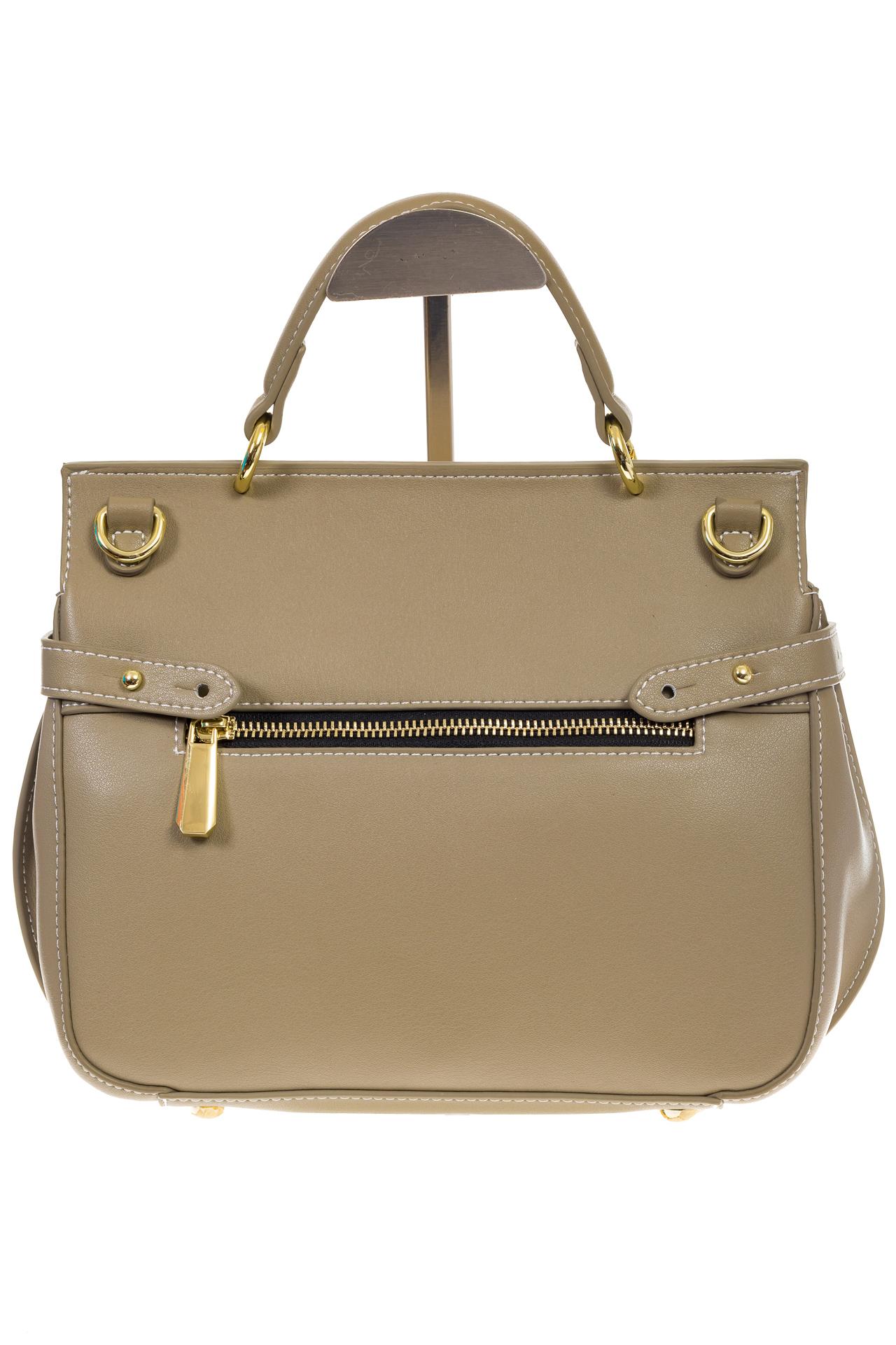 На фото 3 - Серо-зеленая сумка из кожи с верхним клапаном 5046-1