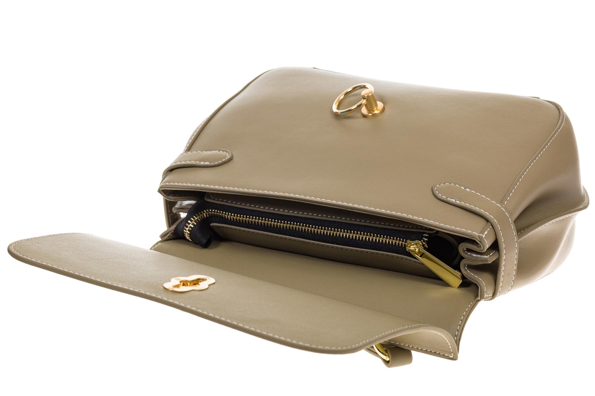 На фото 4 - Серая сумка из кожи с верхним клапаном 5046-1