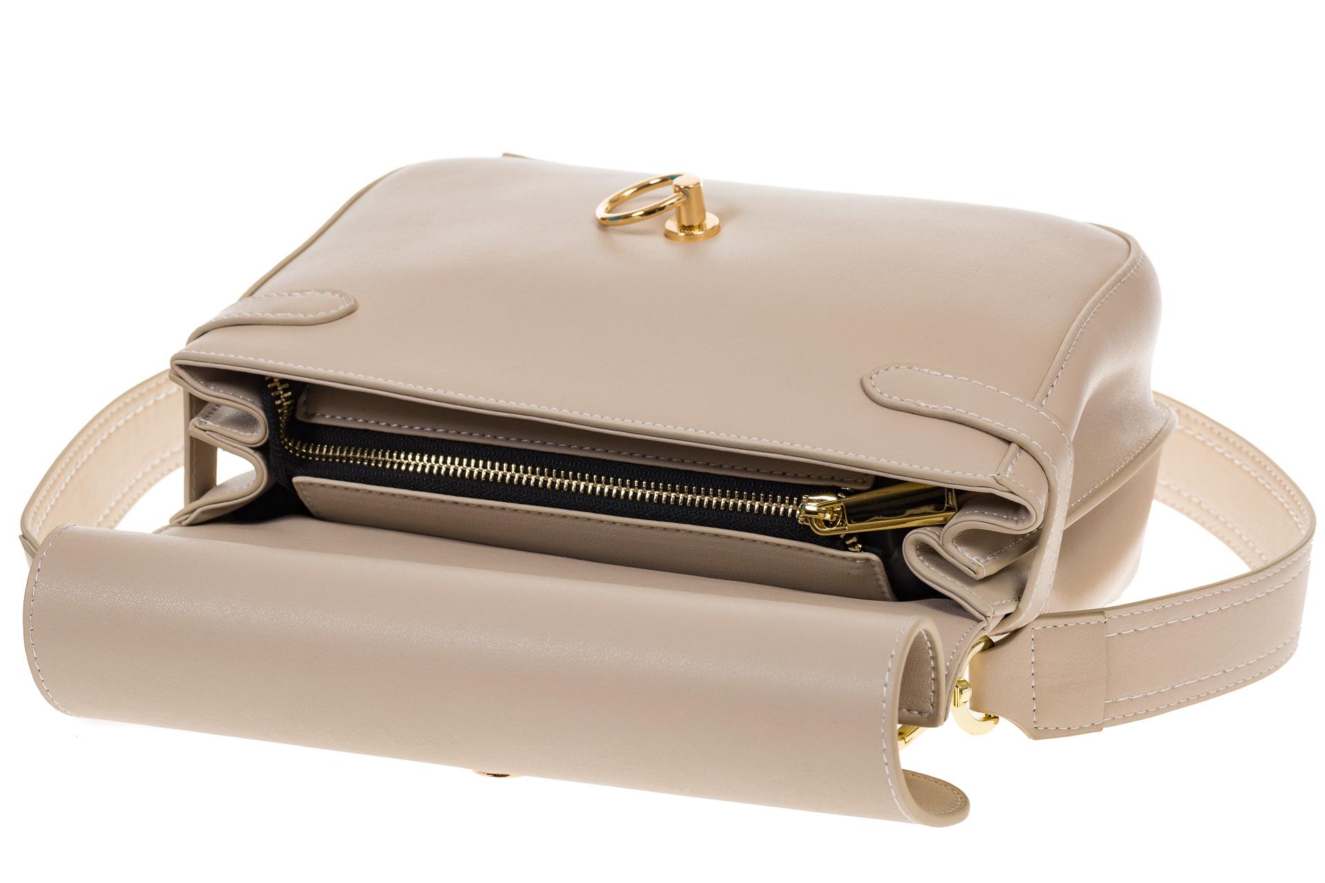 На фото 4 - Кремовая сумка из кожи с верхним клапаном 5046-1