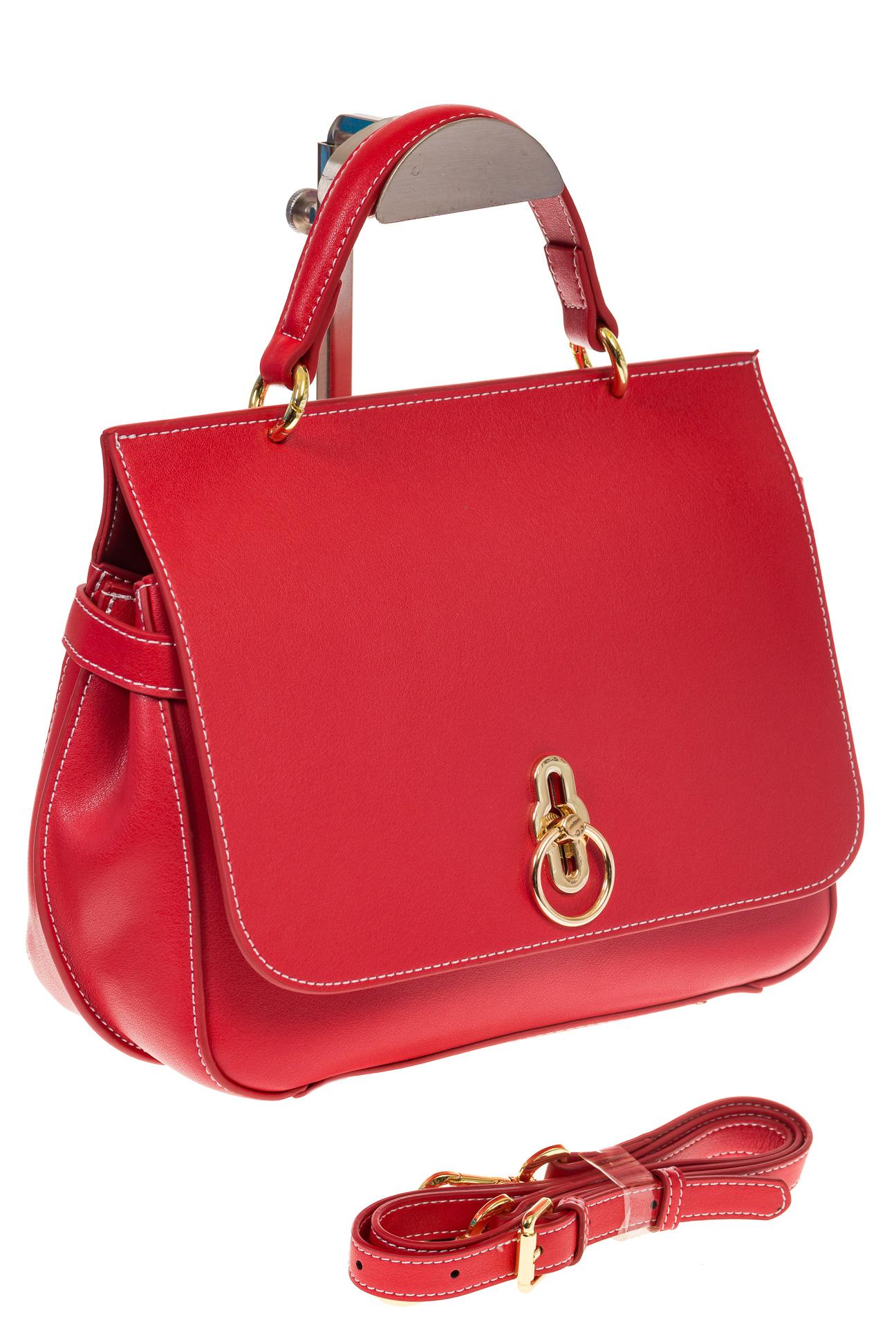 Красная сумка из кожи с верхним клапаном 5046-1 для опта