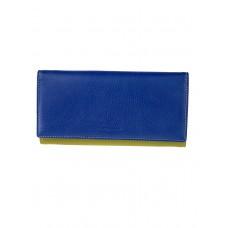 На фото 1 - Женское кожаное портмоне, цвет синий с хаки