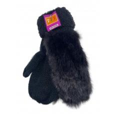 На фото 1 - Утеплённые женские варежки из шерсти и искусственного меха, цвет чёрный