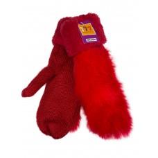 На фото 1 - Утеплённые женские варежки из шерсти и искусственного меха, цвет красный