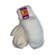 На фото 1 - Утеплённые женские варежки из шерсти и искусственного меха, цвет белый