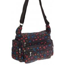 На фото 1 - Текстильная темная сумка с ярким принтом