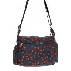 На фото 3 - Текстильная темная сумка с ярким принтом