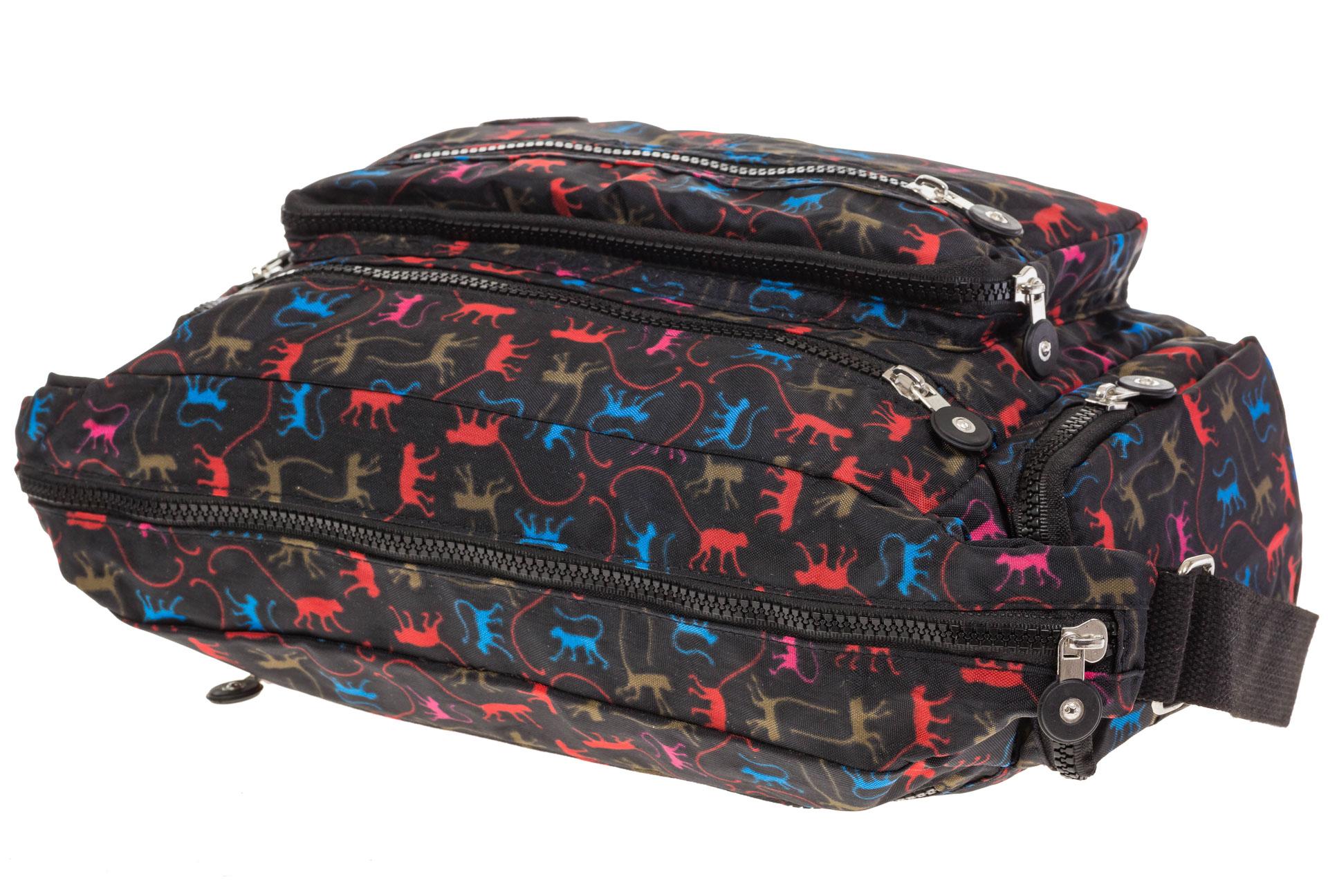На фото 4 - Текстильная темная сумка с ярким принтом