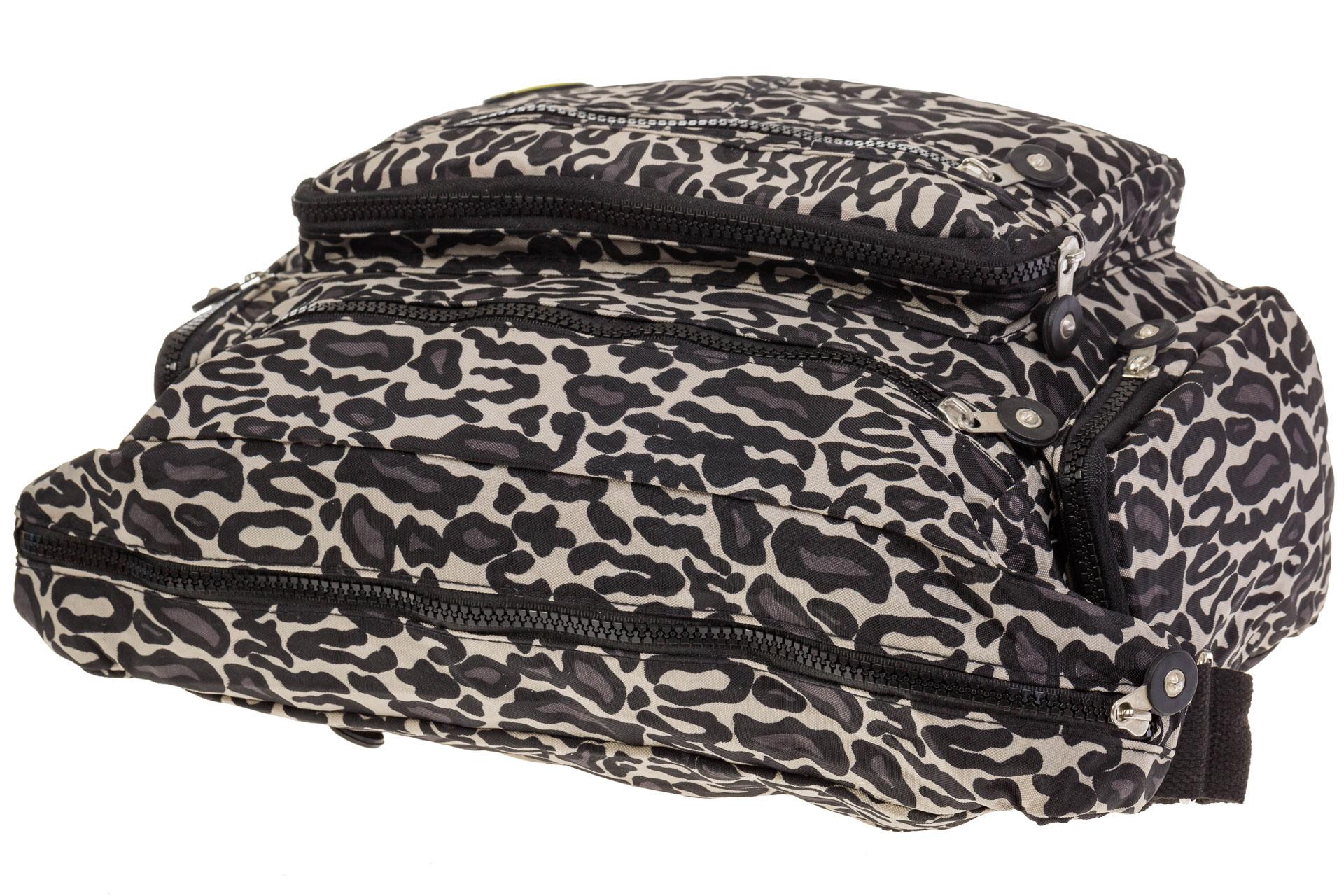 На фото 4 - Текстильная темная сумка с принтом снежный барс