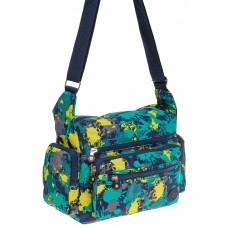 На фото 1 - Текстильная темная сумка с принтом пятен краски