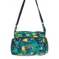 На фото 3 - Текстильная темная сумка с принтом пятен краски